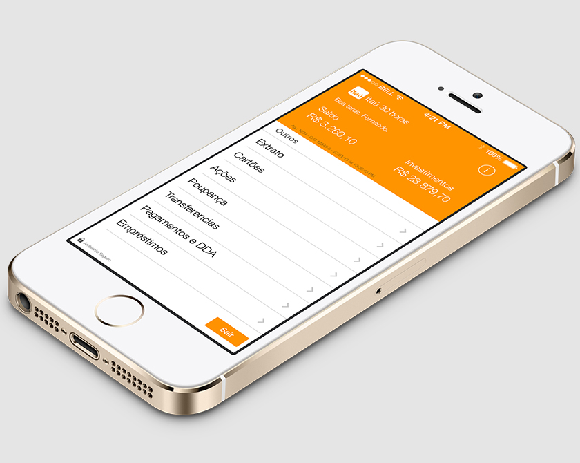 Redesign do aplicativo do Banco Itaú para iOS7